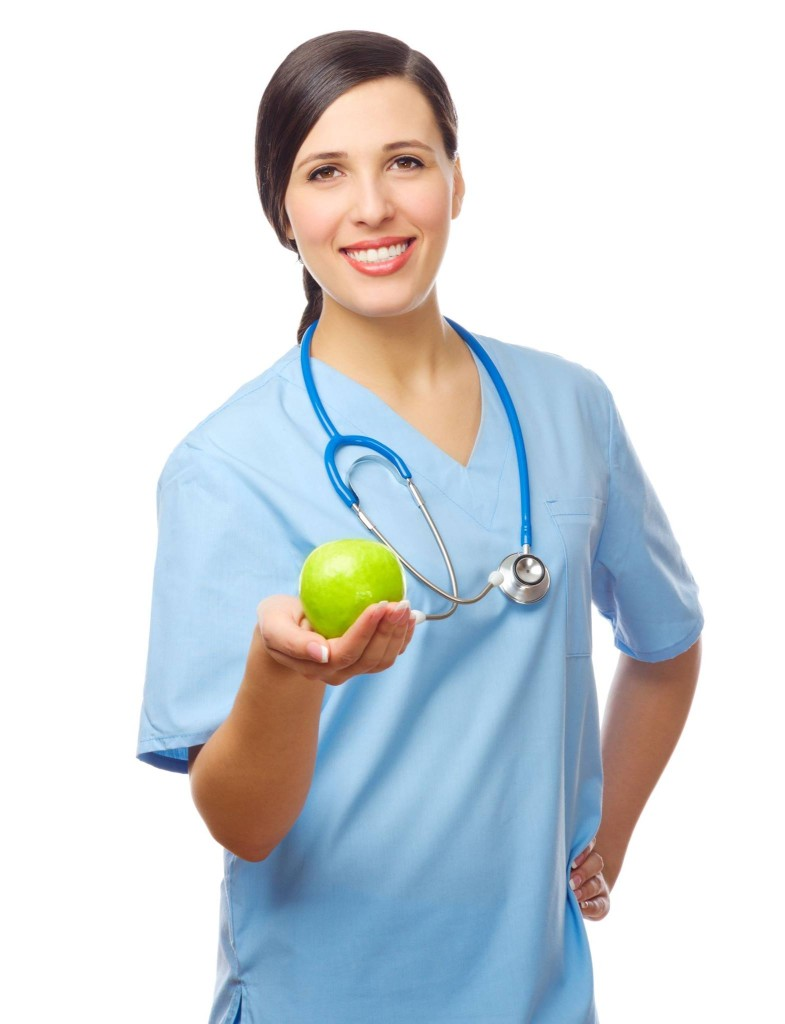 nurse with apple